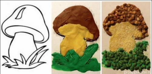 Аппликация из крупы для детского сада на тему «Осень»