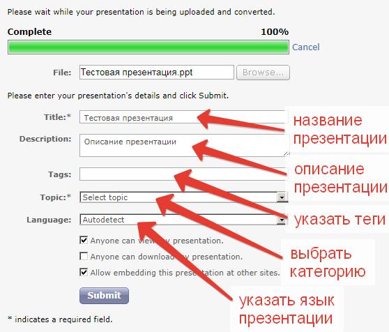 Как опубликовать презентацию в своём блоге