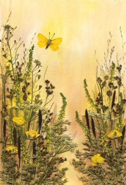Аппликация из природного материала. Осенние цветы
