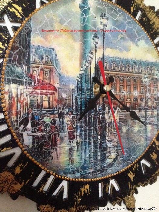 Часы из пластинки своими руками в технике декупаж
