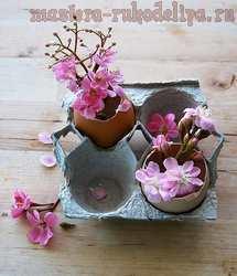 Цветы из яичной упаковки. Мастер-класс