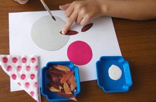 Конспект занятия кружка в начальной школе. Аппликация из осенних листьев