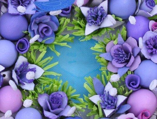Цветы из ячеек из-под яиц