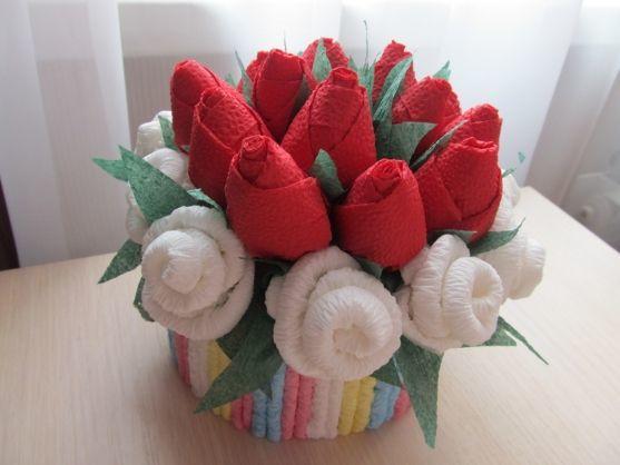 Розы из салфеток. Мастер-класс