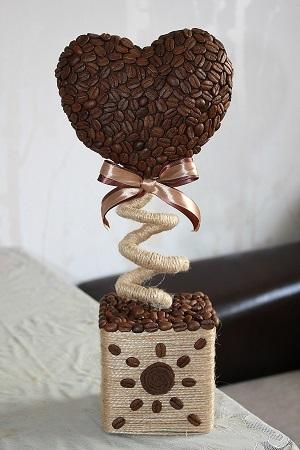 Подсолнухи из кофейных зёрен. Мастер-класс