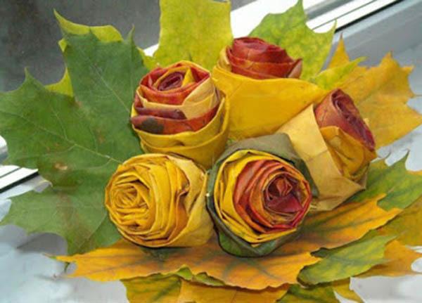 Розы из кленовых листьев. Мастер-класс