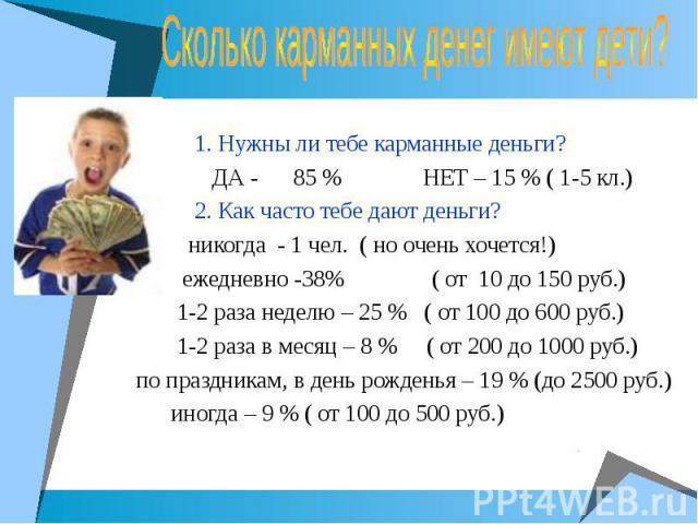 Классный час «Карманные деньги», 9-10 класс