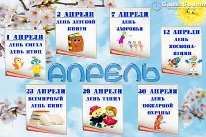 Календарь праздников на каждый день. Апрель